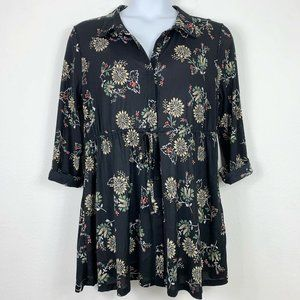 Style Co XL Tunic Blouse Semi Sheer Floral Button